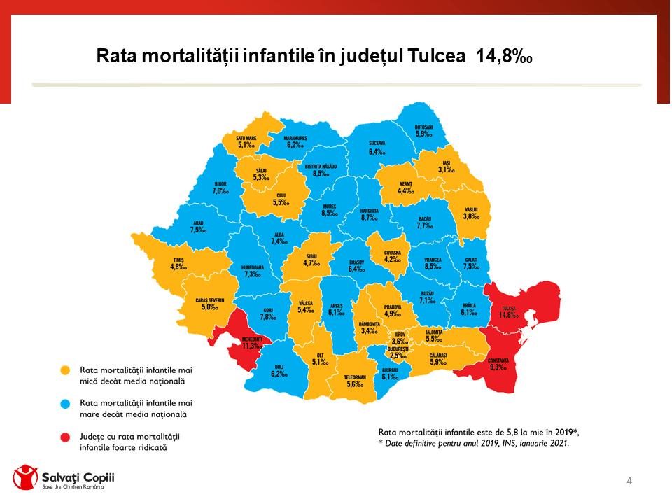 Harta mortalitatii infantile Romania