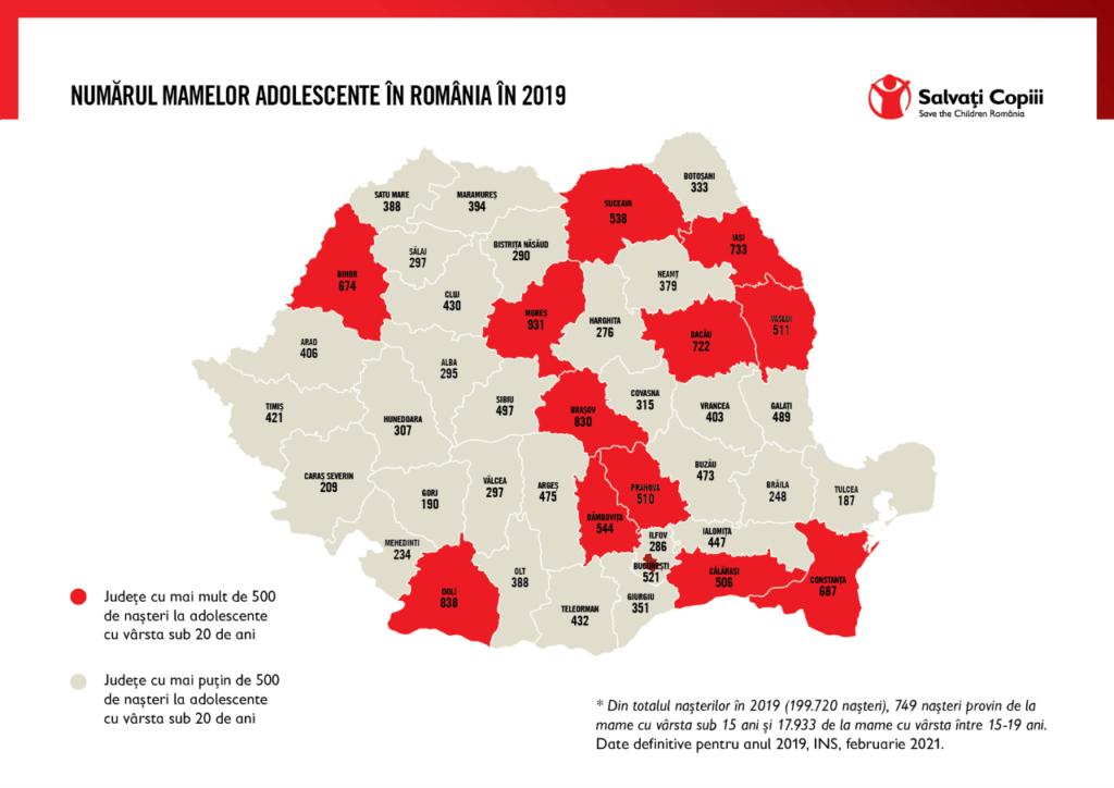 Harta mamelor adolescente Romania